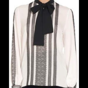 Andrew Gn Lace-Trimmed Silk-Blend Crepe Blouse